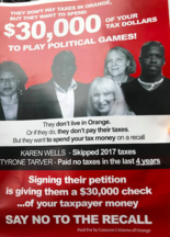 Fliers urging residents to not sign the recall petition were distributed this month in Orange.