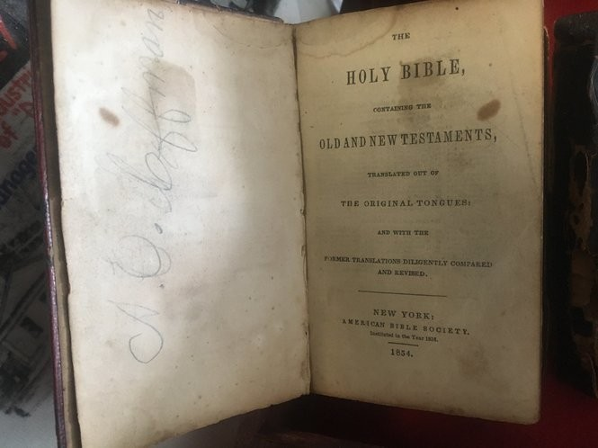 Inside page of 1854 pocket Bible that belonged to a Civil War soldier from Paterson