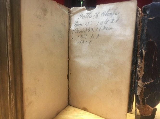 Bible verses written in pencil on the back page of a 1854 pocket Bible that belonged to Civil War soldier from Paterson