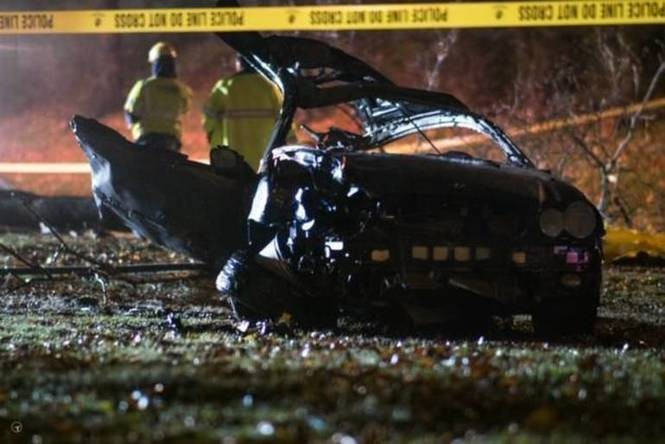 Wreckage from the scene of an apparently fatal crash Monday night on Bloomfield Avenue in Glen Ridge. (Armando Diaz | TAPinto)