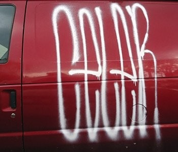 A photo of one of the common tags found in Montclair that township police are fighting against.