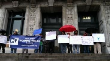 About 10,000 postcards were delivered to City Hall in Newark today supporting sick leave for private sector workers.
