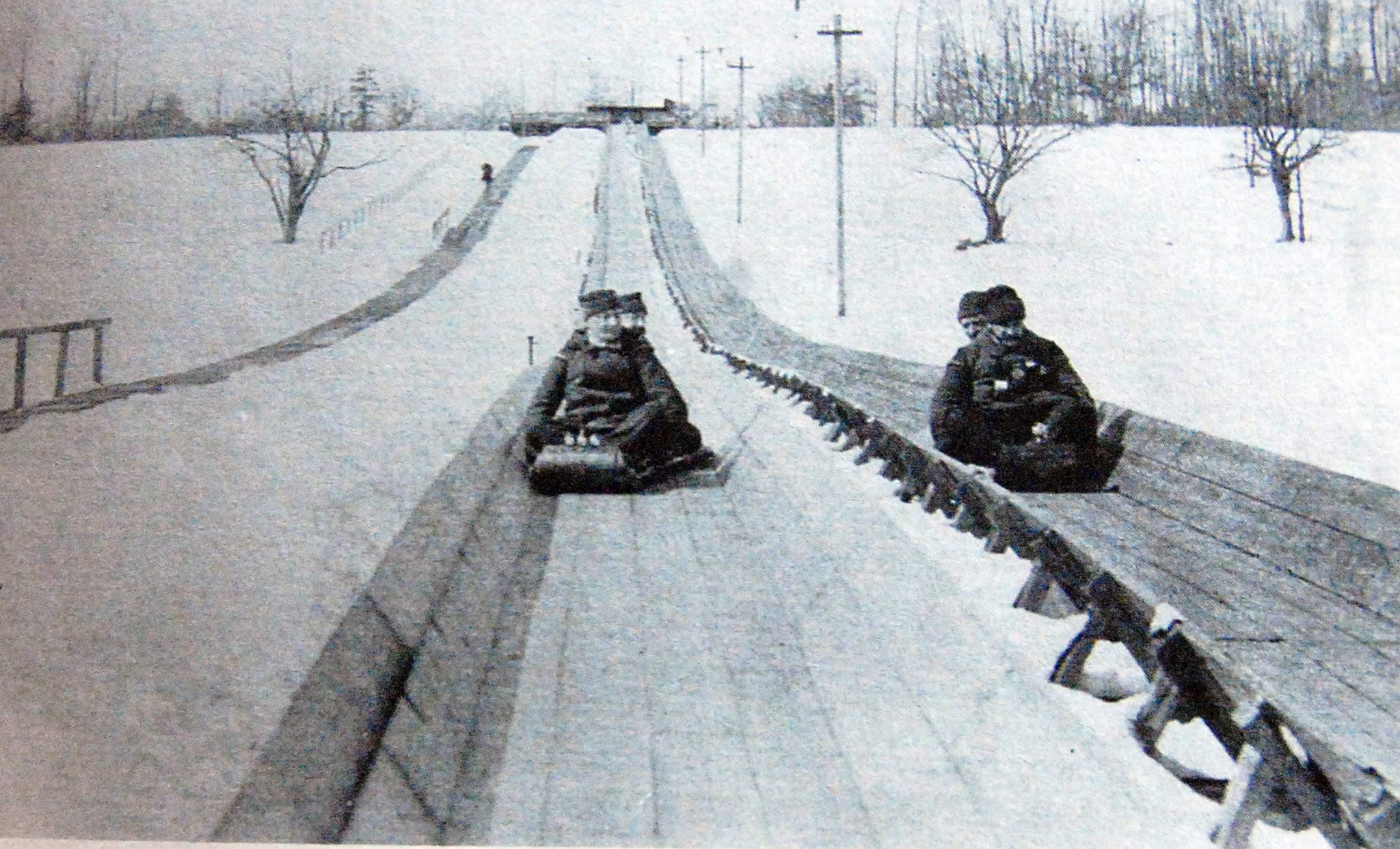 ORANGE NEW JERSEY TOBOGGANING COASTING DOWN HILL AT ESSEX COUNTRY CLUB SLED