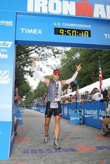 Hartrick completing one of his Ironman competitions