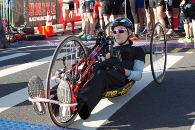 Glenn Hartrick at the Rutgers UNITE Half Marathon on Sunday which he completed on hand cycle after becoming paralyzed in June 2014.