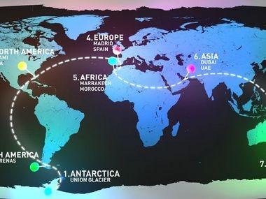The World Marathon Challenge race course.