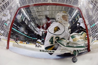 Anthony Stolarz let in a goal here, but had a stellar 2013-14 season playing in the OHL for the London Knights.