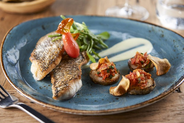 The Long Island black sea bass is part of the exciting new menu at Halifax -- Hoboken's latest eatery, located at The W Hotel.