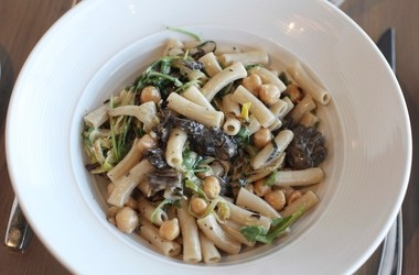 Maritime Parc's gluten-free, dairy-free brown rice pasta, made here with fennel and mushrooms, is a revelation.