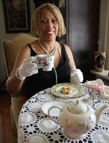 Sharon Levy of Princeton, CEO and founder of Taking Tea in Style, demonstrates the proper way to prepare and serve tea.