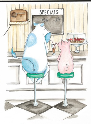 "Lauren Kaelin created the characters Walt the cow and PB the pig for illustrations in the book ""Ample-Hills-Creamery: Secrets and Stories from Brooklyn's Favorite Ice Cream Shop"""
