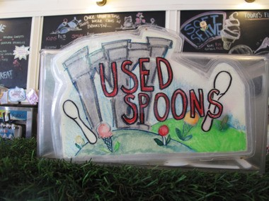The used spoons sign Lauren Kaelin drew on her first day at Ample Hills Creamery.