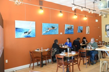 The space at Mishmish Cafe is as bright as the food. Photo by David Handschuh