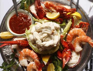 Chilled seafood platter with lobster, shrimp and crab.