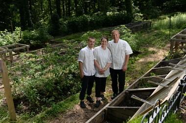 Bernards Inn restaurant chef de cuisine Alex Spitale, pastry chef Elizabeth Katz and executive chef Corey Heyer.