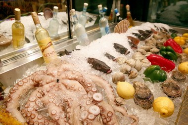 The fresh seafood display featuring octopus at Twelve Islands.