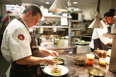 Chef Joseph Voller at work in the kitchen at Eno Terra in Kingston.