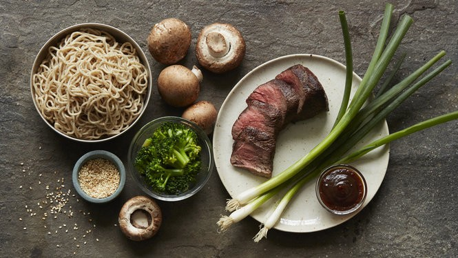 The fast casual chain Honeygrow's sesame garlic stir-fry features Creekstone Farms beef and fresh whole-wheat noodles.