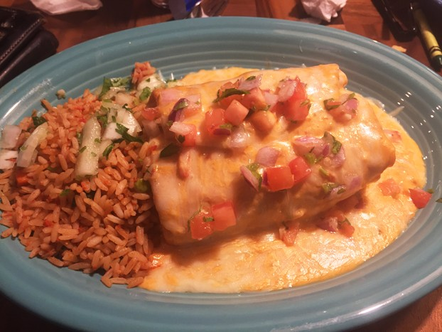 The steak chimichanga at Margaritas in Toms River is an excellent entree that's bursting with savory flavor. (Bill Bodkin)