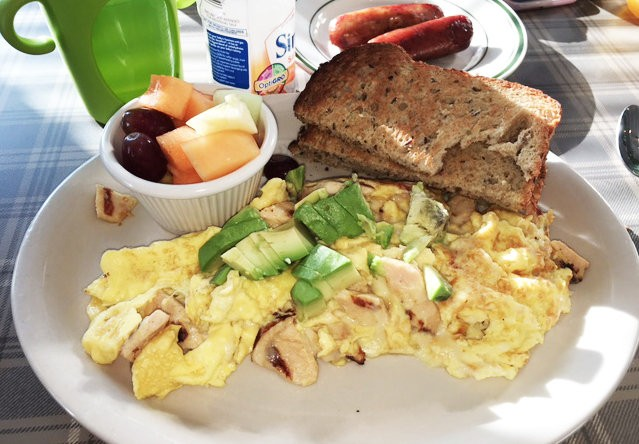 The guerrilla scramble at Toast in Red Bank features six eggs, grilled chicken, avocado and jack cheese.