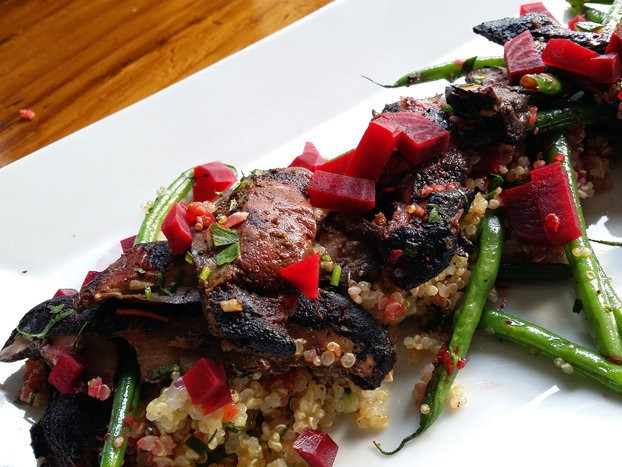 The jerk portobello with a quinoa medley, sauteed green beans, and red beets from Vital in Montclair.