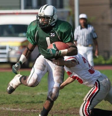Newark West Side's Quaheem Whitehead runs the ball against Lakeland at Untermann Field in Newark during a game in October 2005.