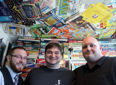 Ryan Harbinson (left), Tyler Ager (center), and Ryan Morrison, owners of Tiki Tiki Games in Woodbury, Wednesday, Sept. 19, 2012. The business has since relocated on South Broad Street. (Staff Photo by Lori M. Nichols/South Jersey Times)