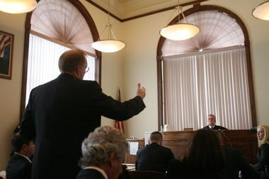 A defense attorney representing the state addresses Superior Court Judge James E. Rafferty during the 2011 bench trial of the Kiddie Kollege medical monitoring case.