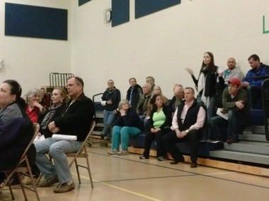 Wenonah residents speak out at a public meeting regarding a possible light rail station in town, Thursday, March 20, 2014.