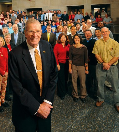 Henry M. Rowan poses with the College of Engineering in 2009. (photo provided)
