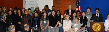 Teachers and students from the Williamstown Middle School Environmental Club (Monroe Township Public Schools in Gloucester County), with NJDEP Commissioner Bob Martin and Assistant Commissioner John Giordano. (Submitted Photo)
