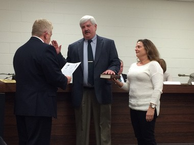 Newfield Council member Stephen Boyle was sworn into office on Tuesday, Jan. 6, 2015 during the borough's reorganization meeting. (Kristina Pritchett | South Jersey Times)