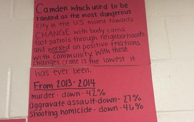 """Pictured here, a poster that was included in the display project made by students at Clearview Regional High School that caused controversy within the law enforcement community. On Thursday, June 11, 2015 students staged a sit-in, in protest of school administration taking down a """"police brutality"""" display project recently made by a humanitarian studies class. (Submitted Photo)"""