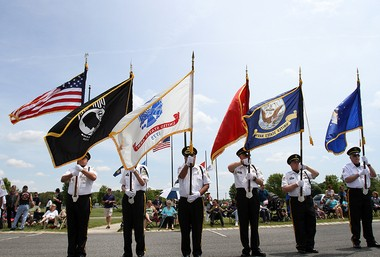 Gloucester County Veterans Memorial Cemetery Honor Guard present colors during the Gloucester County Memorial Day Service, Sunday, May 24, 2015. (Calista Condo | For NJ.com)