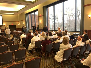 Kennedy Health employees gather for Tuesday's Rowan University trustees meeting. (Matt Gray | For NJ.com)