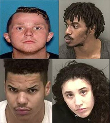 (Top, left to right) Branden E. Wentz, 19, Doug Henderson, 24, (Bottom, left to right) Aleem Clark Jr., 18, and Brianna Jimenez, 18, were charged in connection with a robbery attempt in Woodbury on Tuesday night. (Woodbury Police Dept.)