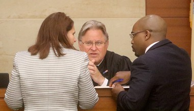 Public defender Julius Hughes and assistant prosecutor Dianna Reed-Rolando, conference with Judge Robert Becker during the detention hearing for Chanel Barnes on Thursday, June 14, 2018. (Al Amrhein   For NJ Advance Media)