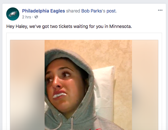 The Philadelphia Eagles shared the video of Haley Parks and offered up two tickets.