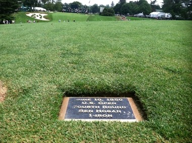 A small plaque shows where Ben Hogan hit his famous 1 iron shot at Merion in 1950.