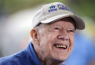 Jimmy Carter's grandson Jason Carter said 91-year-old former president is doing well while undergoing cancer treatment and showing no sign of slowing down, despite his pledge to do just that. (AP Photo/Mark Humphrey)