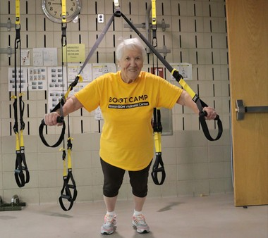 Dot Riley, 83, of Somerdale, exercises three times a week at the Senior Boot Camp at Rowan University's Wellness Center in Stratford. (Jessica Beym | For NJ.com)