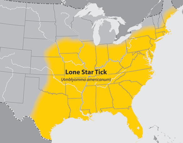 The range of the Lone Star tick (U.S. Centers for Disease Control and Prevention)