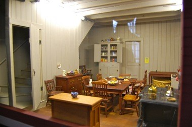 The kitchen of the Bunting Doll House, a hand-made replica of an 1890s Colonial house and veterinarian's office that is on display Sundays through April 14 at Cranbury Museum.