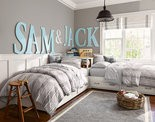 Sherwin-Williams has just introduced a Pottery Barn Kids paint line with grays and other colors to coordinate with the retailer's nursery and bedroom collections.