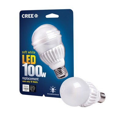 """Cree lighting this month introduced its first 100-watt equivalent LED. Cree bulbs produce impressive room-filling, omnidirectional light despite a sizable collar of temperature-regulating """"heat sinks"""" that also place these bulbs among the heaviest LEDs. The bulb's glass has a silicone coating to help protect it from breakage. The Cree 40- and 60-watt replacement bulbs were recently selling for $4.97 thanks to a periodic incentive discount through New Jersey's Clean Energy Program."""