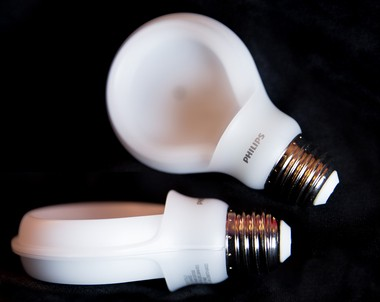Because they are electronic systems that need to keep cool to perform well, Some LEDs can weigh nearly a pound. The SlimStyle LED from Philips Lighting Co. has light-emitting diodes in a horseshoe shape with heat dissipation built into the streamlined design. The plastic housing makes the flat light bulb lightweight and resistant to breakage. It was selling for $9.97 at Home Depot stores.