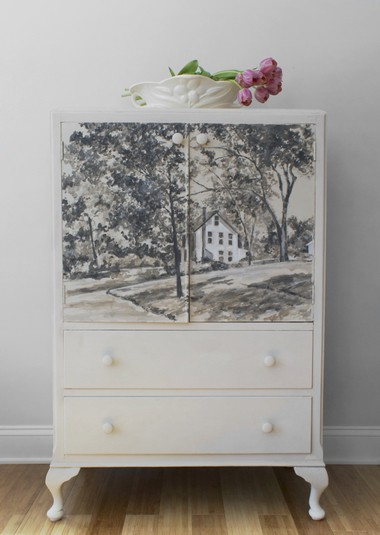 An armoire painted by Tinton Falls artist Karen Donnelly was among art and decorative objects destroyed in an April 20 fire that shuttered the Stately Homes by-the-Sea Designer Show House in Rumson.