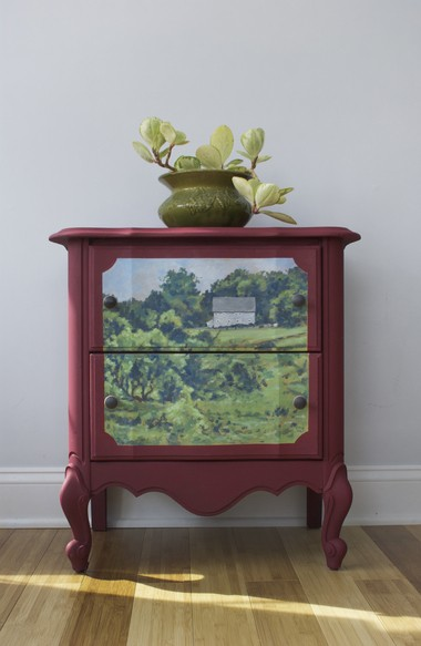 A two-drawer chest painted by Karen Donnelly with Annie Sloan chalk paints.