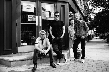 The Bongos today, posing in front of Maxwell's on the day of the iconic club's closing-day celebration.