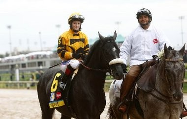 Rosie Napravnik is aboard Mylute before the Kentucky Derby. Napravnik will be riding Mylute in the Preakness on Saturday.